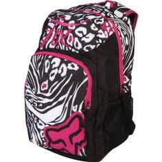 """Fox Racing Dirt Vixen Women's Laptop Backpack - Black/White / Size 18"""" x 13.75"""" x 7"""".  $54.50            It'll be tough to choose between the crazy cool colorway options of the Fox Dirt Vixen Backpack! Durable, cute, and with enough funkiness and energy for the any Fox-girl, the Dirt Vixen Backpack will help you organize your hectic life this seasonInterior main compartment w..."""