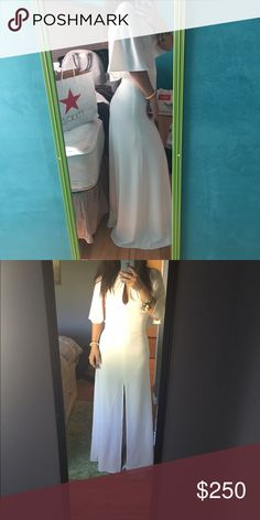 Halston Heritage White Dress Brand new, never worn White Halston Heritage cape dress. Super cute and unique. No stains. Halston Heritage Dresses Prom