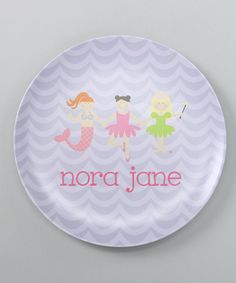 Purple Princess Lineup Personalized Plate Lima Bean Kids