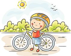 Rapaz e sua bicicleta - ilustração de arte vetorial