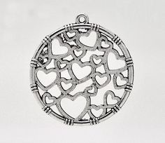 4 Large Silver Tone Metal CIRCLE of LOVE Heart Charm Pendants by SmartParts on Etsy, $2.19