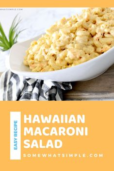 Hawaiian macaroni salad is creamy, cool, and absolutely delicious! It comes together in a snap and can feed a crowd at your next BBQ or Luau! Made with a few simple ingredients, this authentic recipe will transport you to the islands. #hawaiianmacaroni #hawaiianmacaronisalad #authentichawaiianmacaronisalad #hawaiianpastasaladrecipe #easypastasalad Chicken Caesar Pasta Salad, Easy Pasta Salad, Vegetable Prep, Vegetable Sides, Side Dishes Easy, Side Dish Recipes, Hawaiian Macaroni Salad, Salads For A Crowd, Creamy Pasta