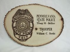 Police badge plaque, retirement gifts, law enforcement gift, Pennsylvania State Police Department