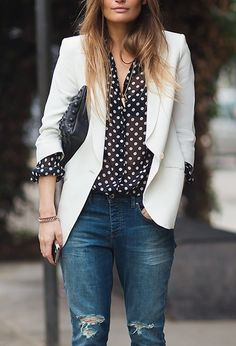 What a great outfit! Classic pieces look amazing layered together, you can't go wrong with a white blazer, polka dot blouse, and boyfriend jeans! Casual Outfits, Cute Outfits, Fashion Outfits, Womens Fashion, Net Fashion, Street Fashion, Fashion Models, Fashion Shoes, Girl Fashion