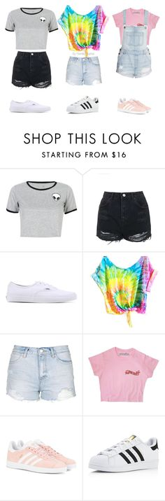"""""""Teen looks💖"""" by pernille-sophie ❤ liked on Polyvore featuring WithChic, Topshop, Vans, adidas Originals and adidas"""