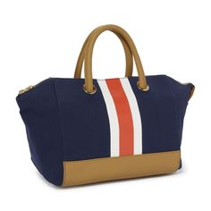Collegiate Stripe Winged Tote $78.00