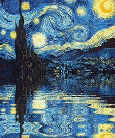 - (the starry night)(vincent van gogh)(painting)(animated gif) -