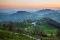 Before dawn in Swiss Jura mountains, canton of Basel-Landschaft.