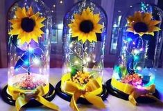 Ideas Para, Table Decorations, Furniture, Home Decor, Sunflowers, Wedding Centerpieces, Wedding Tables, Flowers, Drugs Art