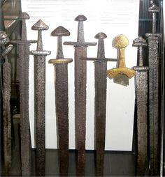 Some Viking swords as exhibited in the museum in Helsinki, Finland
