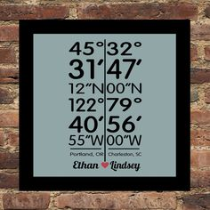 Long Distance Love Personalized City Coordinates Print - Any City Available Personalized Art