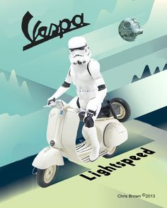 About the print: This is a print from an original artwork by Christopher Brown. It is Stormtrooper on a Vespa in a vintage Art Deco poster