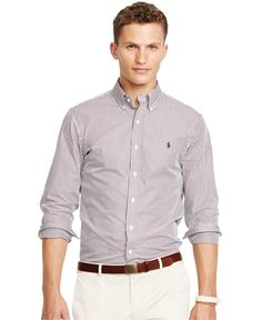Polo Ralph Lauren Striped Poplin Shirt - Casual Button-Down Shirts ...