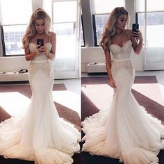 Charming Wedding Dress,Spaghetti Straps Tulle Wedding Dresses,Mermaid Wedding