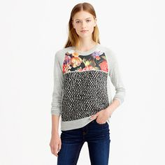 An anything-but-basic merino wool sweater with a silk panel (the floral print was inspired by the Dutch Masters) and a textured tweed body—because we're all about the mix. <ul><li>Semifitted.</li><li>Hits at hip.</li><li>Merino wool in a 14-gauge knit, silk panel.</li><li>Bracelet sleeves.</li><li>Rib trim at cuffs and hem.</li><li>Dry clean.</li><li>Import.</li></ul>