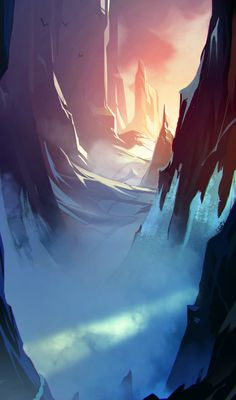 Passage > nice lighting in this #conceptart by Matteo Bassini
