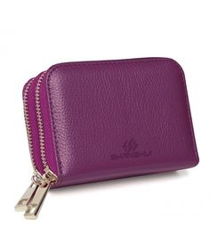 Women's Bags, Wallets,RFID Blocking ly Genuine Leather Credit Card Wallet for Women - Purple - Rfid Wallet, Clutch Wallet, Leather Shoulder Bag, Leather Wallet, Wallet Sale, Credit Card Wallet, Wallets For Women, Fashion Bags, Zip Around Wallet