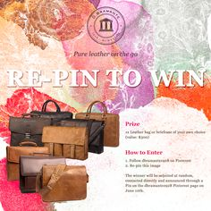 PRIZE: 1x Leather bag or briefcase of your own choice (value: $300). HOW TO ENTER: 1. Follow dbramante1928 on Pinterest 2. Re-pin this image. The winner will be selected at random, contacted directly and  announced through a Pin on the dbramante1928 Pinterest page on June 10th. Good luck. :)