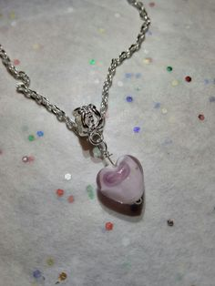 SALE Lovely Glass Heart Shaped Pendant by VeeVeesCreations on Etsy