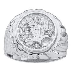 Wedding Ring Sets 0.10CTW DIAMOND MEN'S EAGLE RING 10KT White Gold