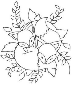 Cuddly foxes hand embroidery pattern