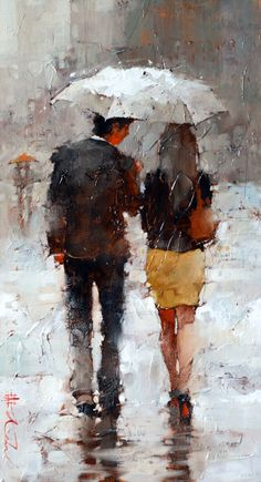 10 Impressionism Paintings by Russian Artist Andre Kohn Umbrella Painting, Rain Painting, Umbrella Art, Figure Painting, Rain Art, Romance Art, Art Sculpture, Art Abstrait, Couple Art