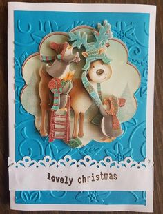 3D decoupage handmade embossed Christmas greeting card - Rudolph the reindeer card, penguins card, lovely christmas card by ArtDenia on Etsy