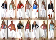 White skinny jeans 14 ways from J's everyday fashion! Great inspiration.