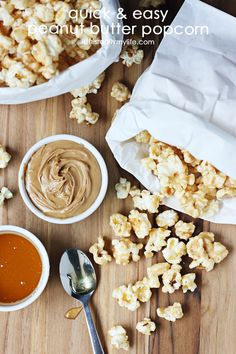 Quick & easy peanut butter popcorn. Two bags microwave popcorn + 4 ingredients = gourmet popcorn in record time! | isthisreallymylife.com