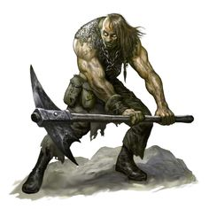 Undead JuJu Zombie Human Pickaxe Fighter - Pathfinder PFRPG DND D&D 3.5 5th ed d20 fantasy