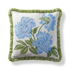 Inspired by a peony engraving found in the archives of our fabric mill, our jacquard woven Sunbrella Peony Spring Outdoor Pillow adds a pop of color    and softness to your home. The 100% Sunbrella solution-dyed fabric is trimmed with plush outdoor fringe.Beautiful accent pillow can be used both indoor and outdoor100% Sunbrella solution-dyed acrylic woven fabricHigh-density polyester fillSewn closedSpot clean with mild natural soap and water; air-dry only    Made in the USA.