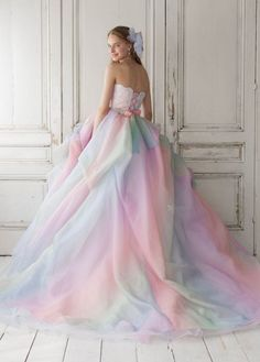 Ombre Ball Gown Charming Prom Dress, long prom dress, evening dress,prom dress, - 2020 New Prom Dresses Fashion - Fashion Of The Year Pastel Wedding Dresses, Rainbow Wedding Dress, Pastel Dresses, Rainbow Prom Dress, Pastel Dress Formal, Pastel Gown, Ombre Wedding Dress, Gown Wedding, Blue Dresses