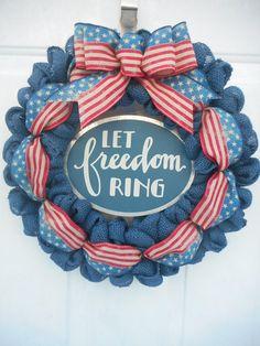 Americana burlap wreath Americana blue burlap wreath Patriotic