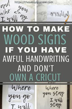 Easy DIY farmhouse wood signs without a stencil! DIY rustic wood signs like you see at Hobby Lobby, for a fraction of the cost! Diy Home Decor Projects, Diy Wood Projects, Diy Projects To Try, Decor Ideas, Craft Ideas, Woodworking Projects, Diy Ideas, Fine Woodworking, Woodworking Furniture