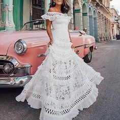 Product One-shouldered ruffled openwork lace stitching dress Gender Women Item Type Dress Style Romantic/Sexy Occasion Party Material Decoration Lace Length Long Please dimensions are measured manually with a d Maxi Dress With Sleeves, Lace Dress, White Dress, Dress Tops, Lace Maxi, Sleeve Dresses, Floral Maxi, Elegant Woman, Beautiful Dresses