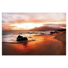 Settle Coastal Rocks Hawaii Sunset Photographic Canvas Wall Art