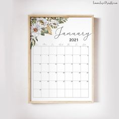 Printable Wall Calendar 2021 Watercolor Calendar 2021 | Etsy Feather Wall Art, Copy Print, Christian Wall Art, Boho Designs, Floral Wall, African Art, Happy Planner, Printable Planner, Printing Services