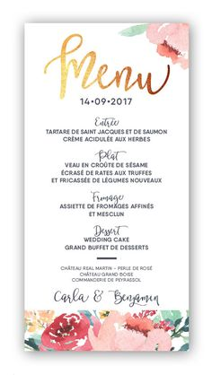 Votre table de mariage sera très élégante avec ces menus de mariage or et fleuri. Buffet Dessert, Invitations, Tableware, Velvet, Weddings, Wedding Things, Mariage, Wedding, Foil Stamping