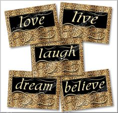 Leopard Print Wall Decor zebra print smile dream live love laugh art wall decor