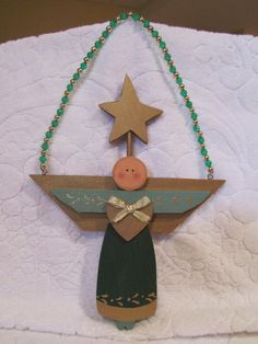 Bald Angel Green and Sage Angel Christmas by BrownBeaverBeadery