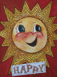 Artist Trading Card of Happy Sun in White Mat by Marleyart on Etsy, $22.00