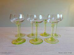 Antique wine or port glasses set of seven (7), glasses with green stem, antique stemware