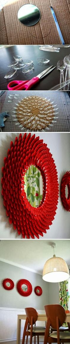 DIY Project: Make a Mirror from Plastic Spoon. Blog removed, use photo as inspiration.