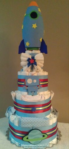 Ready To Launch 4 Tier Diaper Cake Spaceship by LiLDiaperDandies