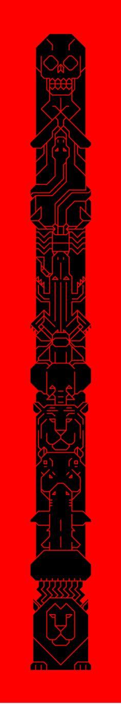 Long vertical angular one colour vector shape design