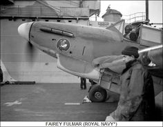 A Fairey Fulmar warming up on the flight deck of HMS VICTORIOUS. Note the Donald Duck painted on the nose of the plane. Ww2 Aircraft, Military Aircraft, Air Fighter, Fighter Jets, Royal Navy Aircraft Carriers, Royal Marines, Flight Deck, Royal Air Force, Aviation