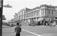 Downtown Oakland, CA, 9th and Broadway, 1950s.
