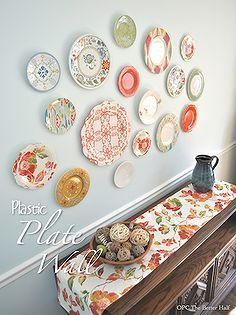 Decorating with Plates  Dee M\u0027s clipboard on & Plastic Plate Wall Hack   Plate wall Plastic plates and Walls