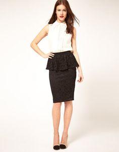 black peplum lace skirt  Find similar skirt here: http://shop-the-collection.enstore.com/item/the-jewel-skirt $66.00