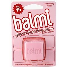 Balmi Lip Balm Strawberry Flavour ($6.52) ❤ liked on Polyvore featuring beauty products, skincare, lip care, lip treatments, fillers, pink fillers and pink